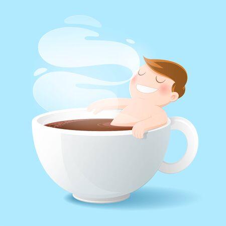 Guten Morgen Kaffeetasse, Konzept mit digitaler Kunstzeichnung Vektorgrafik über Koffeinsucht Männer, die seine Liebe schwarzen Kaffee baden. Vektorgrafik