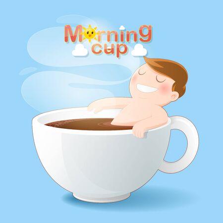 Guten Morgen Kaffeetasse, Konzept mit digitaler Kunstzeichnung Vektorgrafik über Koffeinsucht Männer, die seinen schwarzen Kaffee der Liebe baden. Guten Morgen oder ein Happy Day-Nachrichtenkonzept