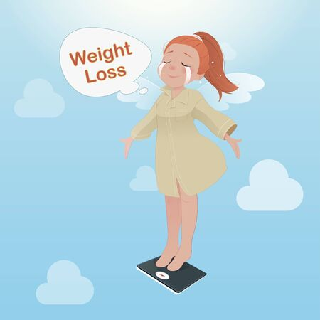 Cartoon woman is enjoy for loss weight, Vector illustration, Vector illustration, Concept with health care and medicine.