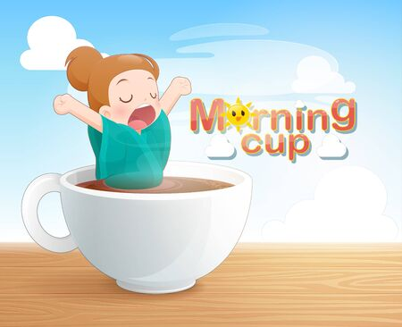 Yawning woman in a cup of black coffee, Good morning coffee cup, Concept with digital art drawing vector illustration about caffeine addiction men who bathe his love black coffee.