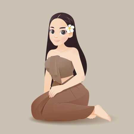 illustration thai women in thai traditional dress, Traditional southeast asian costume, Vector and cartoon Иллюстрация