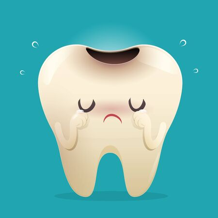 illustration tooth Feel bad. dental caries, toothache, Bad teeth, Limestone, Swollen gums. Diseased tooth and oral cavity. on blue background. Cartoon - Vector