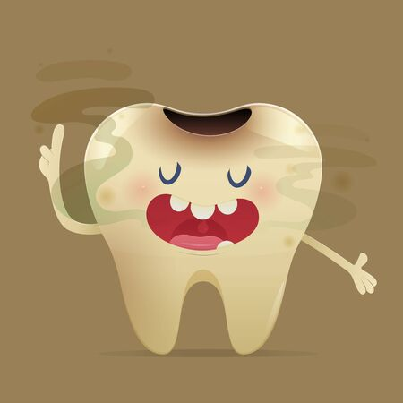 Halitosis concept of cartoon tooth with bad breath on the yellow background -  Total health and Dental problems - illustration and vector design Illusztráció