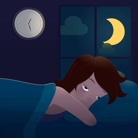 illustration woman lying in bed suffering from insomnia lying in bed at night. The concept with vector design