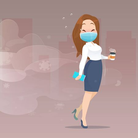 Cartoon business woman wearing a health mask walk away from PM2.5 dust particles and Covid 19. Men who are avoiding community locations. Vector flat character illustration design
