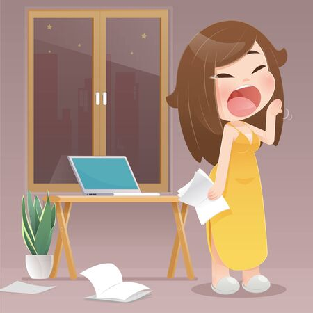 Cartoon woman yawning because they work at night at home. Lady prepares for the coronavirus work from the home requirement. Protecting Covid 19. flat character illustration design.