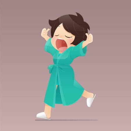 Cartoon girl in a green robe walking and yawning, Women who feel sleepy, Flat character illustration design.