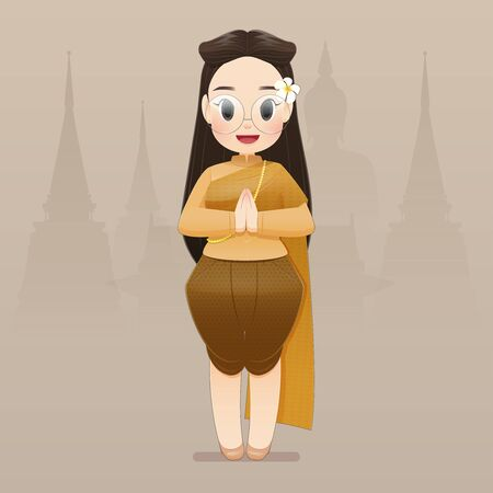 illustration thai women in Thai traditional wear say hello Sawasdee. Hello, Sawadee with Bangkok background. Flat character illustration design. 矢量图像