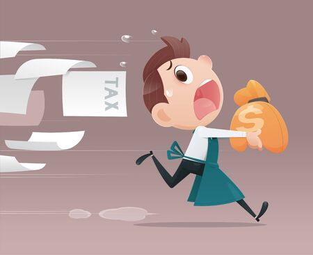 Business people avoid taxation, The merchant cartoon running away from tax. Face mask out of stock, Flat character illustration design