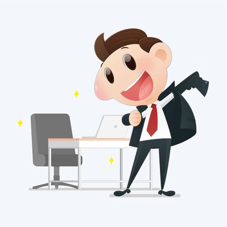 illustration confident young businessman posing on a light gray background, Man who is promoted to manager, Flat character cartoon design. Иллюстрация