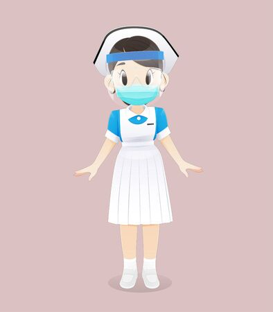 A Nursing student wearing a face shield medical mask stands on a pink background. Female nurse staff wearing surgical mask and a white-blue uniform. Vector illustration in Cartoon character design