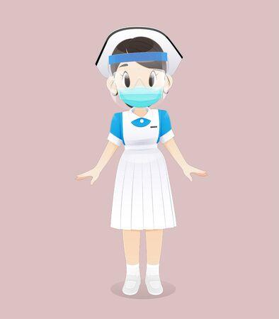 Ein Krankenpflegestudent, der eine medizinische Maske mit Gesichtsschutz trägt, steht auf einem rosa Hintergrund. Weibliches Pflegepersonal mit chirurgischer Maske und weiß-blauer Uniform. Vektor-Illustration im Cartoon-Charakter-Design Vektorgrafik