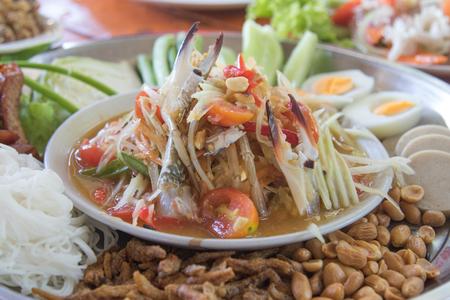 Food papaya salad at Thailand Stock Photo