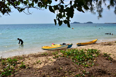 People relaxing on the beach.Tourists come and play the sea. Beautiful sand beach in thailand