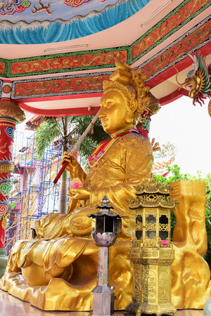 Chinese art shrine in Thailand. It is the worship of people in Chonburi, Thailand. Chinese sculpture Made of stone decorated inside the shrine area. Chinese dragon statue Chinese decoration According to Buddhist beliefs. In chinese shrine Stock Photo