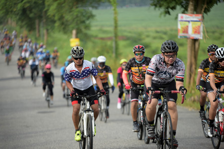 Amateur bike athletes make the most of their efforts in the Bicycle race Charity Trip Nhong Yai Country Road, please ask on 20180624 at Nhong Yai,Chonburi, Thailand. Distance 80 km.