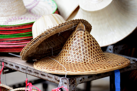 Bamboo wickerwork baskets on the thailand market place. Handmade from natural material. Rattan basket and bamboo products at the market of Thailand.