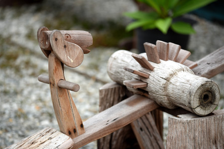 Old wooden house decoration and garden decoration The result of old wood looks beautiful from nature. Furnishings for home and garden. Made from old wood.