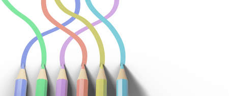 Education concept. 3d of colored pencils on white background. Modern flat design isometric concept of Education. Back to school.