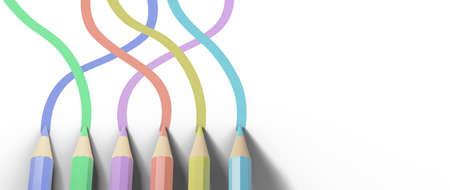 教育的概念。3d在白色背景的色的铅笔。现代平的设计等量教育的概念。回到学校。