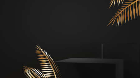 3d rendering of black podium pedestal isolated on black background, gold frame, memorial board, abstract minimal concept, luxury minimalist mockup