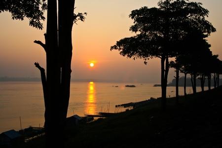 kong river: Dontan, Kong river, Landscape, Mukdahan, Northeast of Thailand, River, Sun rise