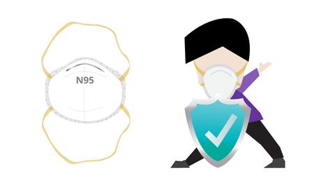 n95 mascarilla respiratoria de partículas para filtrar o proteger el polvo y otros contaminantes Ilustración de vector