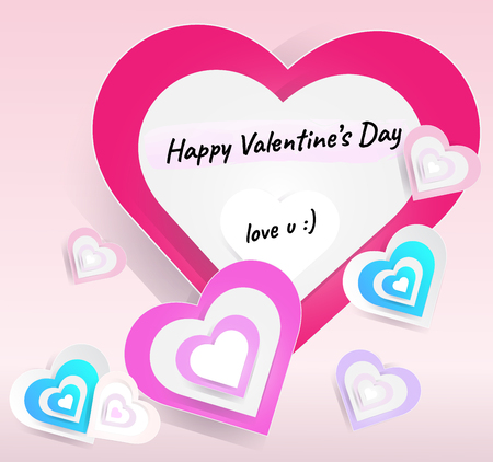 Vectors set of hearts size for happy Valentine festival card on light pink background, elements of love, Fold the paper into a heart shape overlapping illustration Çizim