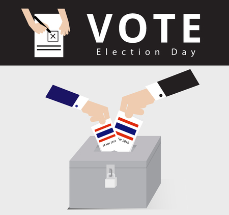 Eligible voter or constituency in locked ballot box for general election day, hand of the man in suit dropped the card into the case or locked ballot box, politics vector and illustration Çizim