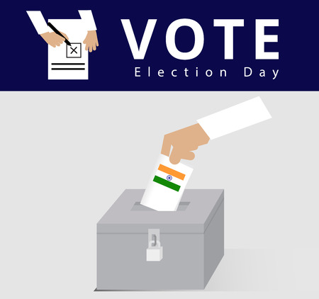 Eligible voter or constituency in locked ballot box for general election day in India, hand of the Indian man dropped the card into the case or locked ballot box, politics vector and illustration