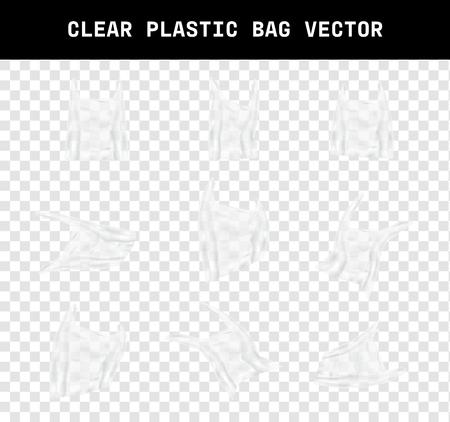 varía la forma de un vector de bolsa de plástico transparente realista, diseño de elementos que el efecto de la basura ambiental debido al calentamiento global en el fondo de transparencia Ilustración de vector
