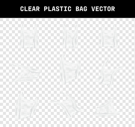 varies shape of a realistic clear plastic bag vector, element design that the effect of environmental garbage due to global warming on transparency background