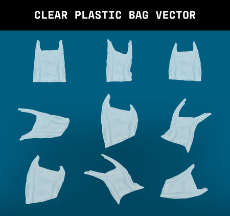 varies shape of a realrestic clear plastic bag vector, element design that the effect of environmental garbage due to global warming on dark blue background
