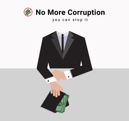 corruption man in suit are giving lot of money to stakeholder for business with the symbol stop recieve money from anyone and the word Disrupting Corruption and stop corruption, for dealing or commiss