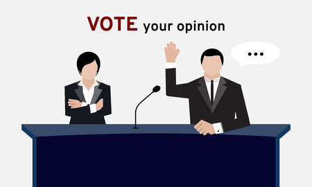Attendees or authorized people in suit hand up over head and arm folding for election and hand vote in conference room or meeting room to achieve about dealing commitment and agreement with wording vote your opinion Illustration