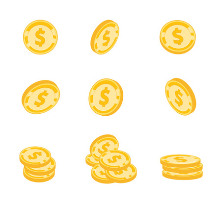 Vector coins, gold coins, dollars money in different angles on white background
