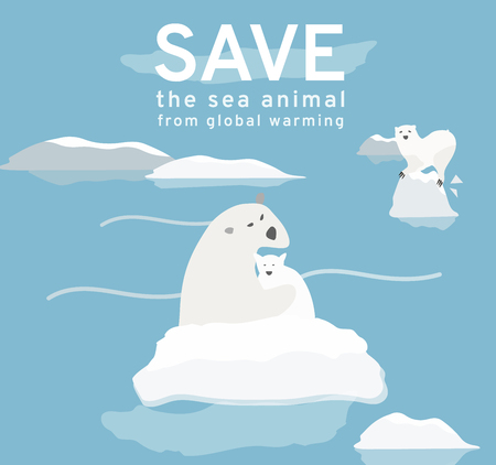 The illustration reflects the current environmental problems of the polar bear, ice is constantly melting, solve global warming Campaign and design