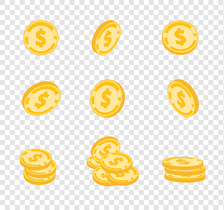 Vector coins, gold coins, dollars money in different angles on transparency background Illustration