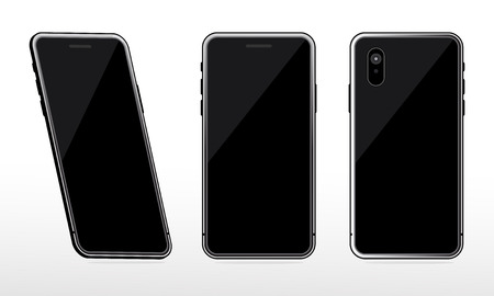 Black phone mock up set on white background, Realistic perspective smartphone mock ups set isolated. Vector illustration for printing and web design element, Game and application mock up