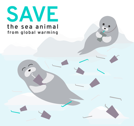 The illustration reflects the current environmental problems of the seals, ice is constantly melting from water pollution and plastic garbage, solve global warming Campaign vector Ilustrace
