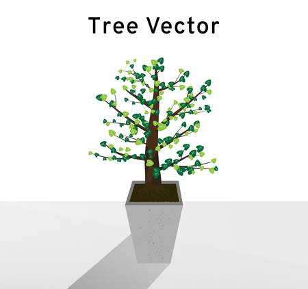 Tree vector spreads the heart shape of green leaves on the tall concrete pots, plant illustration on white background