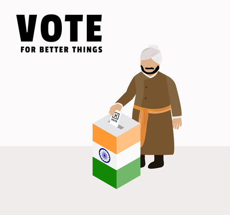 India election day campaign for Indian people or voter drop ballot in box or case to choose government, character of Indian man cartoon , polling box vector and illustration