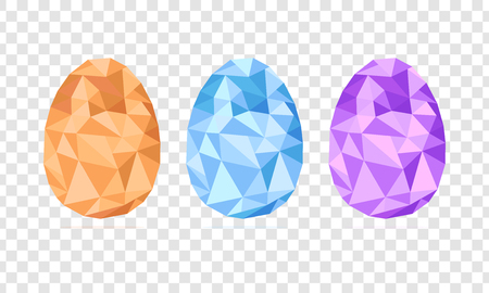 Low-poly Easter eggs set vector isolated on transparent background, geometric shape, modern illustration