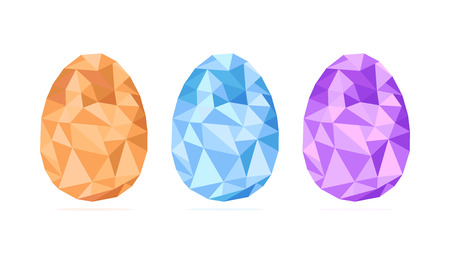Low-poly Easter eggs set vector isolated on white background, geometric shape, modern illustration