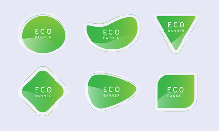 green clear crystal eco banner, elegant glossy element vector design,free form shape for decoration and advertisement