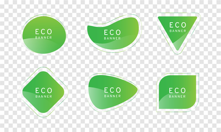 green clear crystal Eco banner on transparency background, elegant glossy element vector design,free form shape for decoration and advertisement Illustration