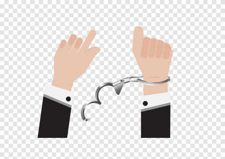 A vector of freedom hand from handcuff bondage of prisoner or businessman in back suit and arrested Control by putting silver handcuffs isolated on white background, Lock the policeman shackle
