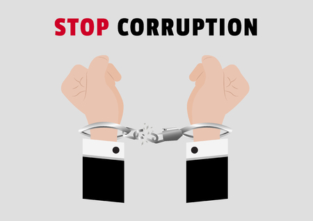 A vector of stop corruption campainge with hands of businessman arrested Control by putting silver handcuffs and lock the shackle isolated on gray background