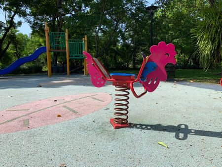 Pink chick rocking horse for children, Exercise machine for young children in the health garden