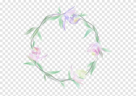 A banner vectors of Watercolor flowers and green leafs on the circle crownd with branch and rope, beautiful floral frame banner on transparency background, element design for decoration